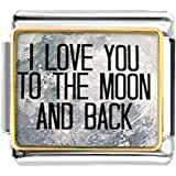 LuckyJewelry I Love You To The Moon And Back Nomination Etched Italian Charm Sale fit Bracelet Link