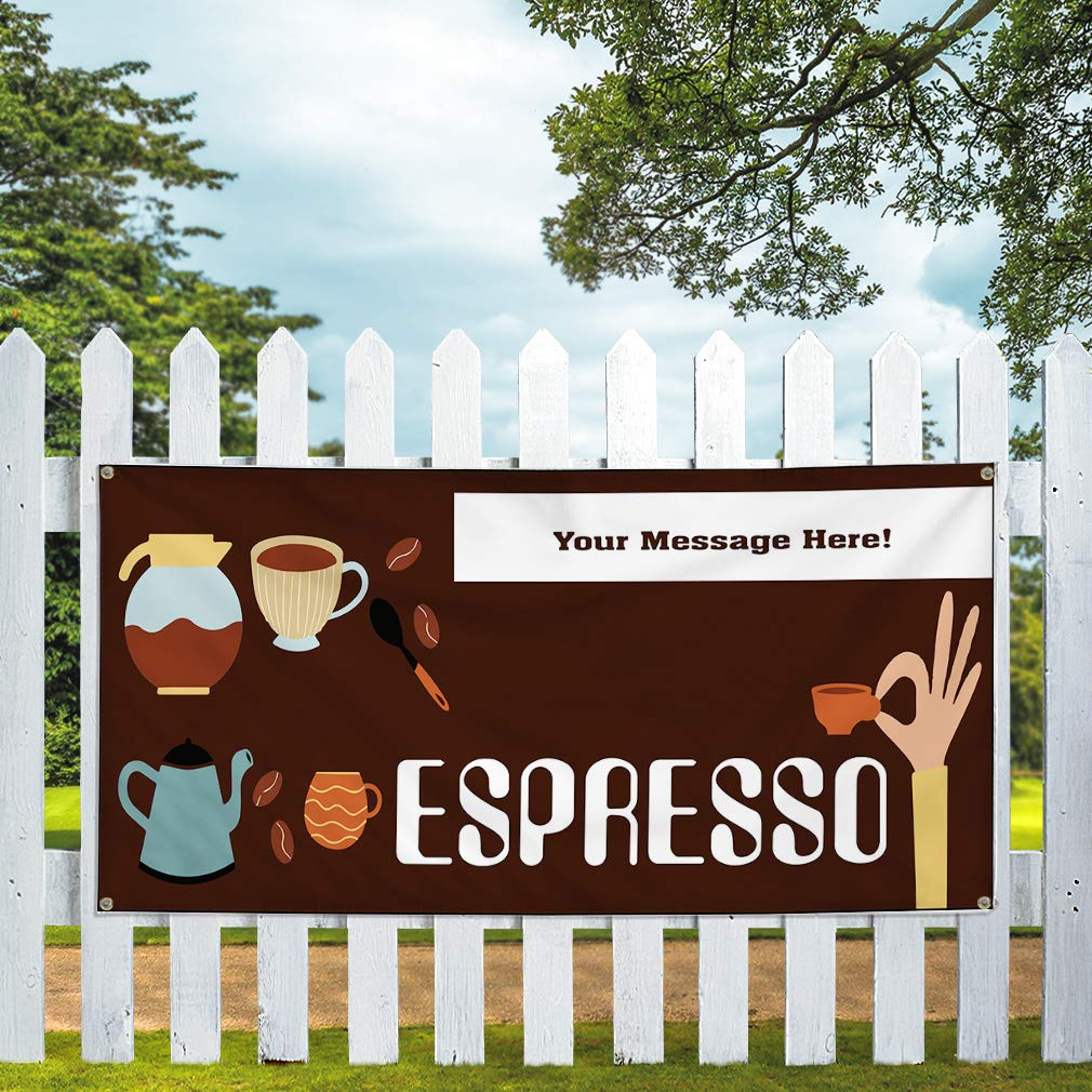 Custom Industrial Vinyl Banner Multiple Sizes Espresso Style B Personalized Text Here Funny and Novelty Outdoor Weatherproof Yard Signs Brown 10 Grommets 60x120Inches