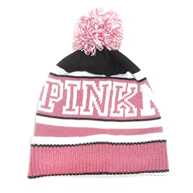 e82c5df9634cb Amazon.com  PINK Logo Graphic Pink Nation Knit Pom Pom Winter Hat ...