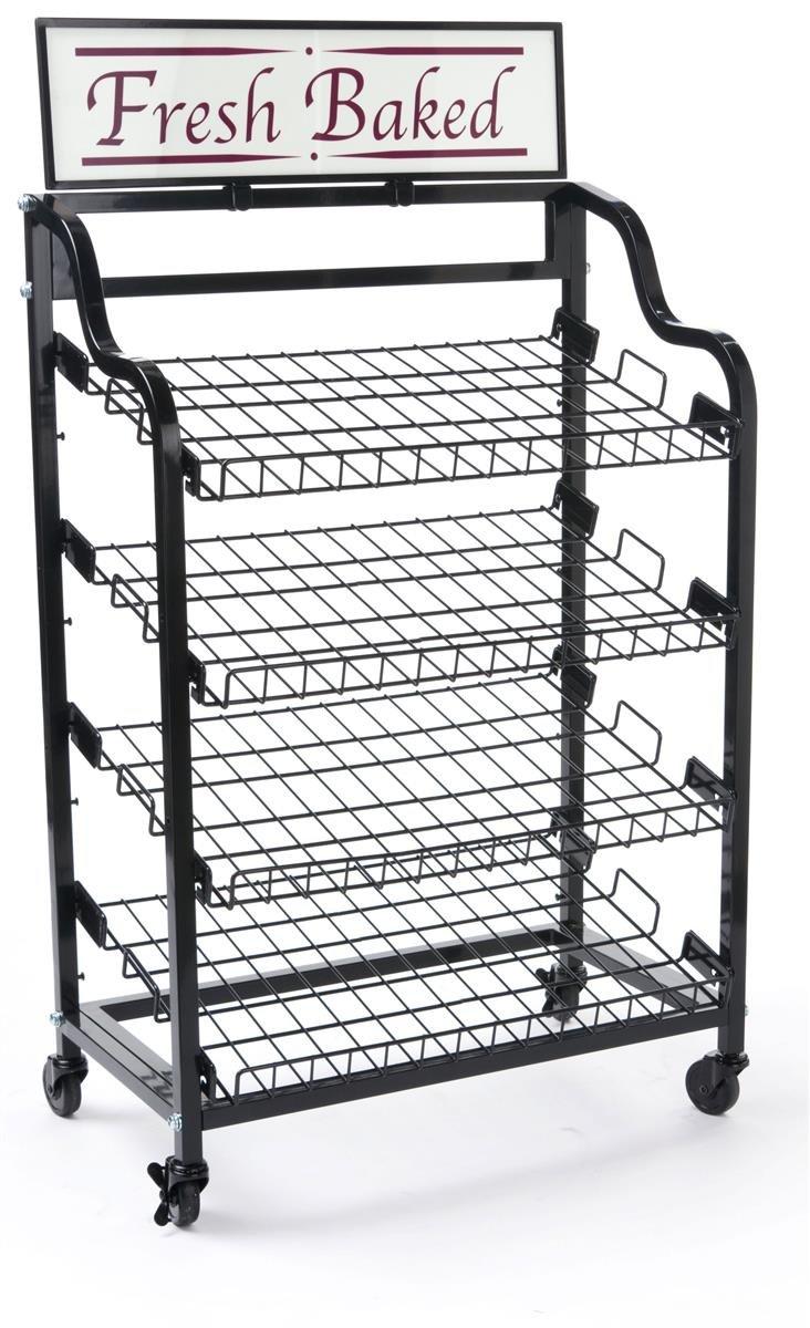 Displays2go BAKCRT4NBK Baker's Rack with 4 Tilting Wire Shelves, Black