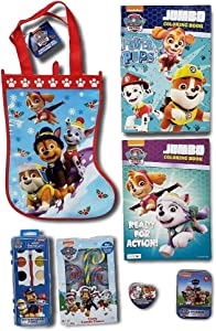Paw Patrol Treat Bag Bundle; Stocking Treat Bag with 6 Items to Fill it! Stickers, Coloring Books, Crayons and Candy Canes!