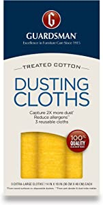 Guardsman Wood Furniture Dusting Cloths - 3 Pre-Treated Cloths - Captures 2X The Dust of a Regular Cloth, Specially Treated, No Sprays or Odors - 462800