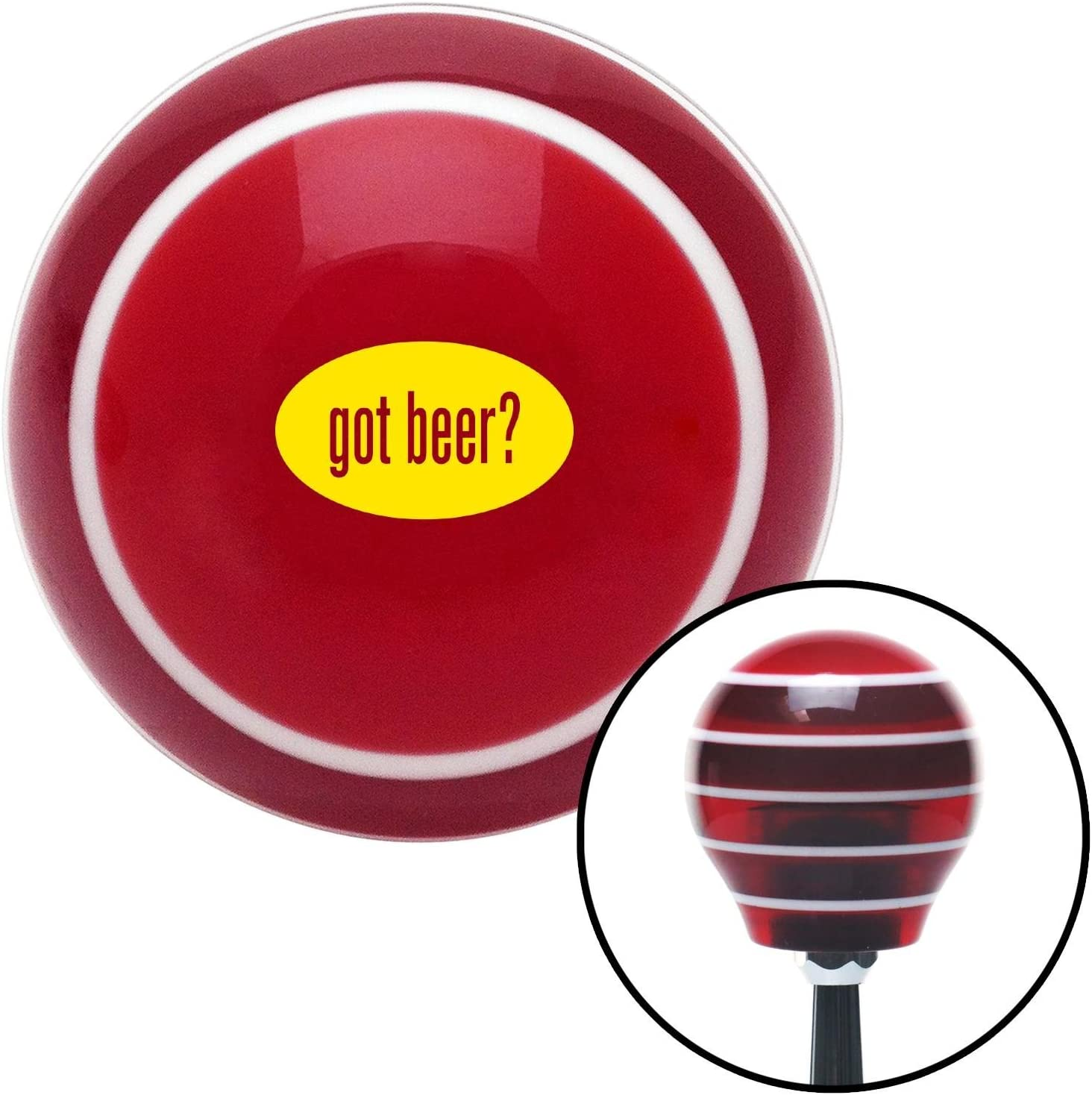 Yellow Got Beer Red Stripe with M16 x 1.5 Insert American Shifter 274163 Shift Knob
