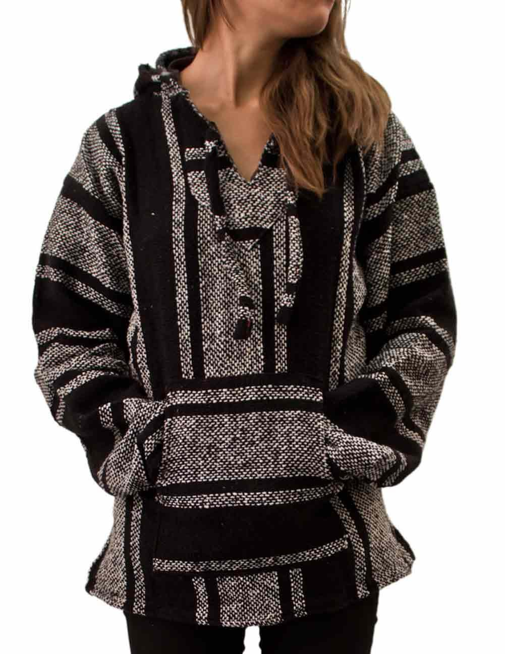Cleverbrand Unisex Mexican Jerga Hoodie - X-Large, Black