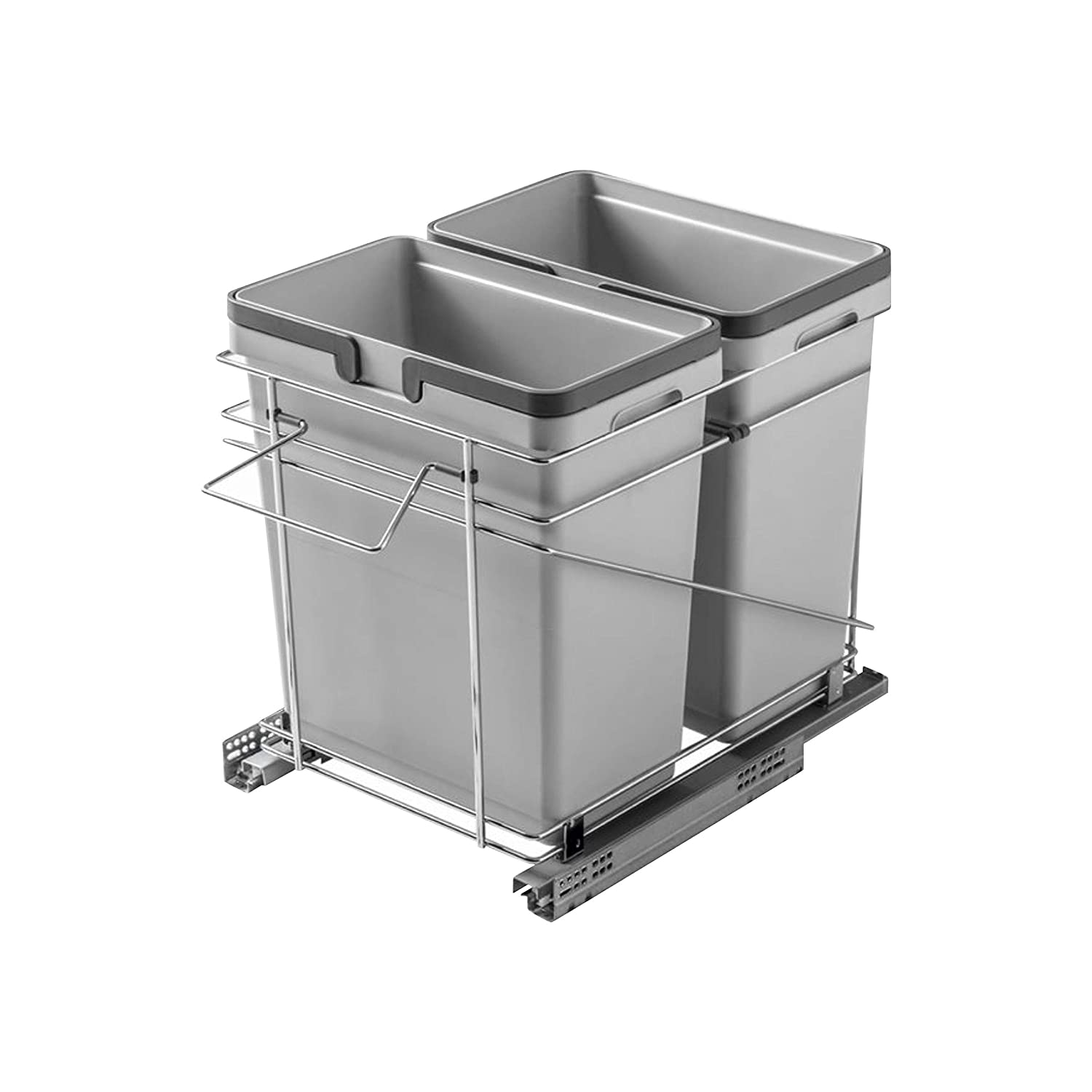 """Rok Salice Kitchen Cabinet Soft Close Heavy Duty Waste Recycle Bin Trash Can Pull Out Organizer Container QPAM15228C (Double 15"""" (32 Quart Bins))"""