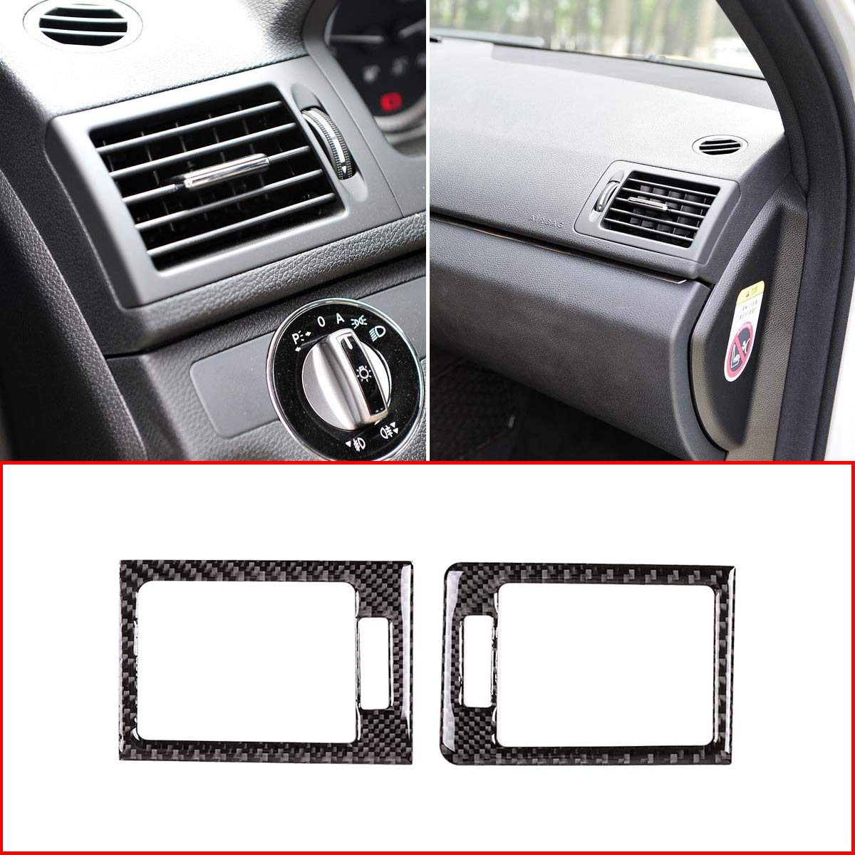 Soft Carbon Fiber Side Air Conditioning Outlet Vent Frame Trim For C Class W204 2007-2010