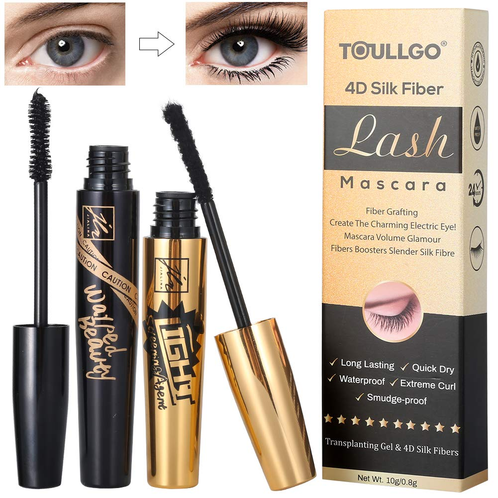 4D Silk Fiber Eyelash Mascara Waterproof, Best for Thickening & Lengthening