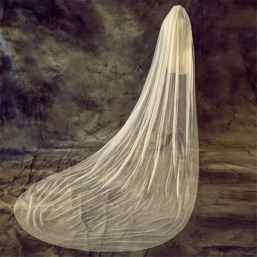 Ivory Romantic Bride Veils Sparkle Bling Sequins Soft Tulle Cathedral Length Wedding Bridal Veil + Comb wexe.com