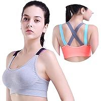 HeartFor 女式工字背运动文胸 - 加垫高强度锻炼,2 件装