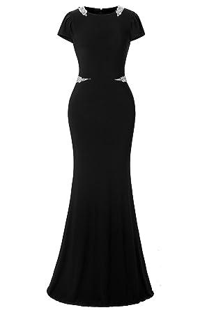 bb317a6db Lafee Bridal Black Mermaid Round Neck Cap Length Rhinestone Long Formal  Evening Gowns for Women Prom