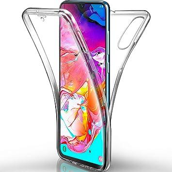 AROYI Funda Samsung Galaxy A70 Transparente,Silicona Doble Cara Carcasa 360°Full Body Protección,Anti-Arañazos Suave Case para Samsung A70