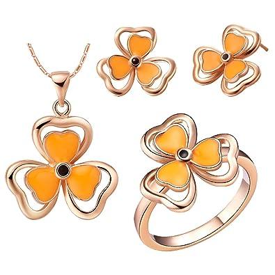 KNSAM Mujer Rosa Oro Plate Conjunto de Collar Pendientes y Pulsera, Orange Aceite Trébol Tamaño 17 Juego de Joyas: Amazon.es: Joyería