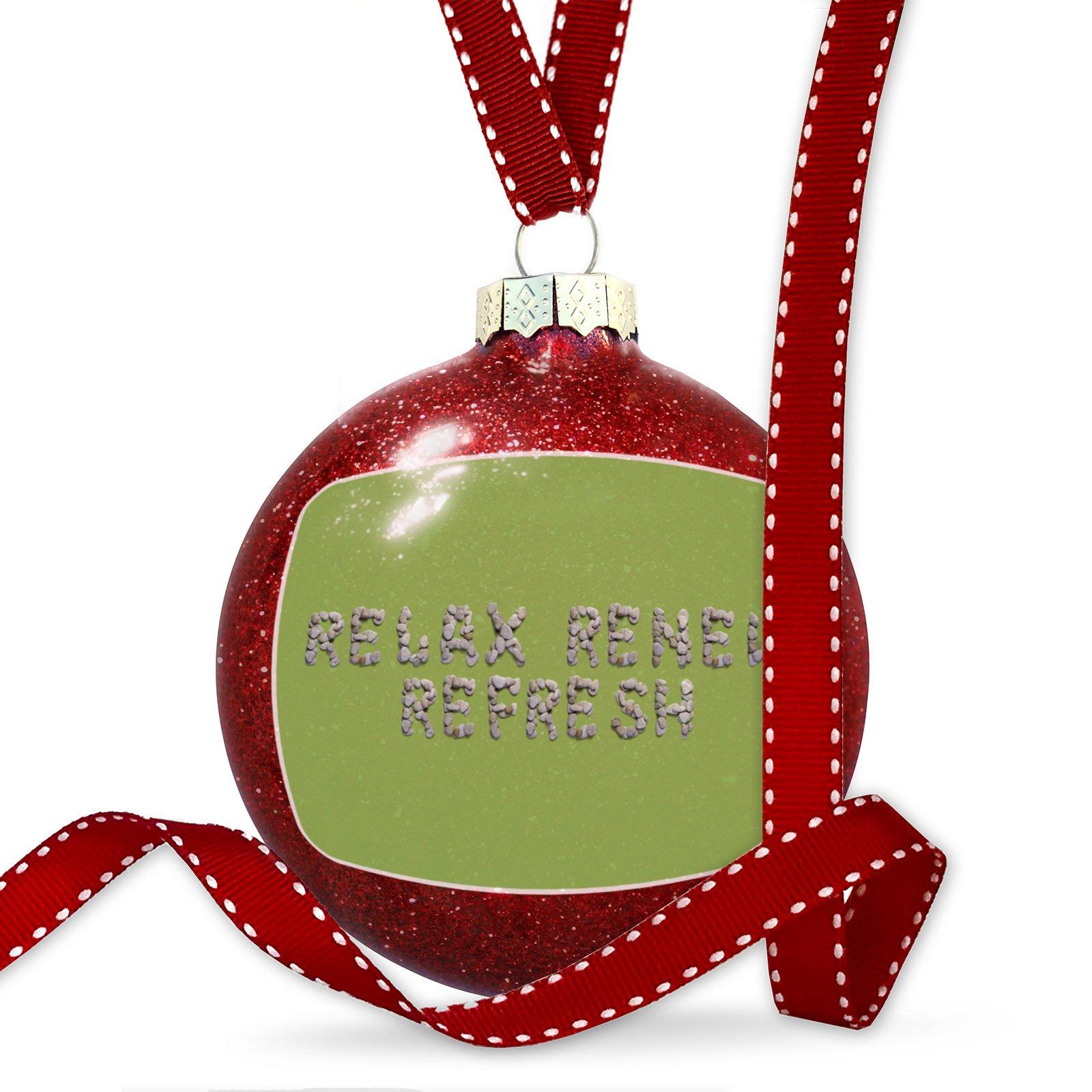 Christmas Decoration Relax Renew Refresh Spa Stones Rocks Ornament