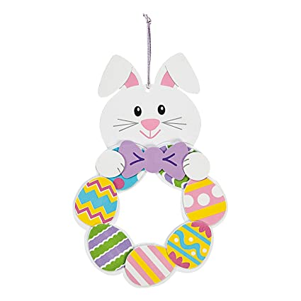 Amazon Com Fun Express Easter Bunny Wreath Craft Kit 12 Easter