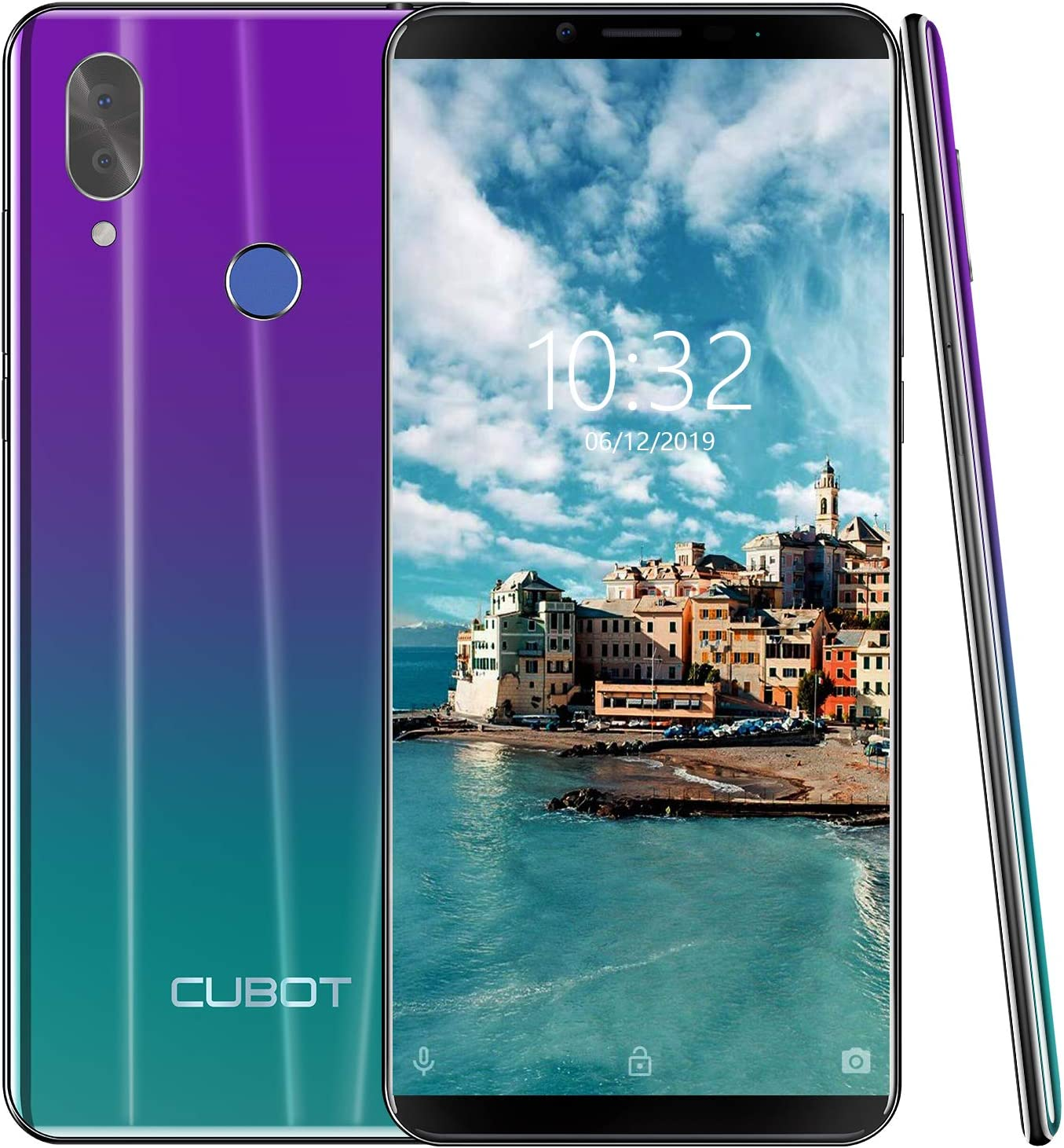 4G Unlocked Smartphone, CUBOT X19 Android 9.0 Phones Unlocked with 5.93 inch FHD Display, 4GB RAM+64GB ROM, 4000mAh Battery,16MP Camera, Fingerprint Sensor,Face ID-Twilight