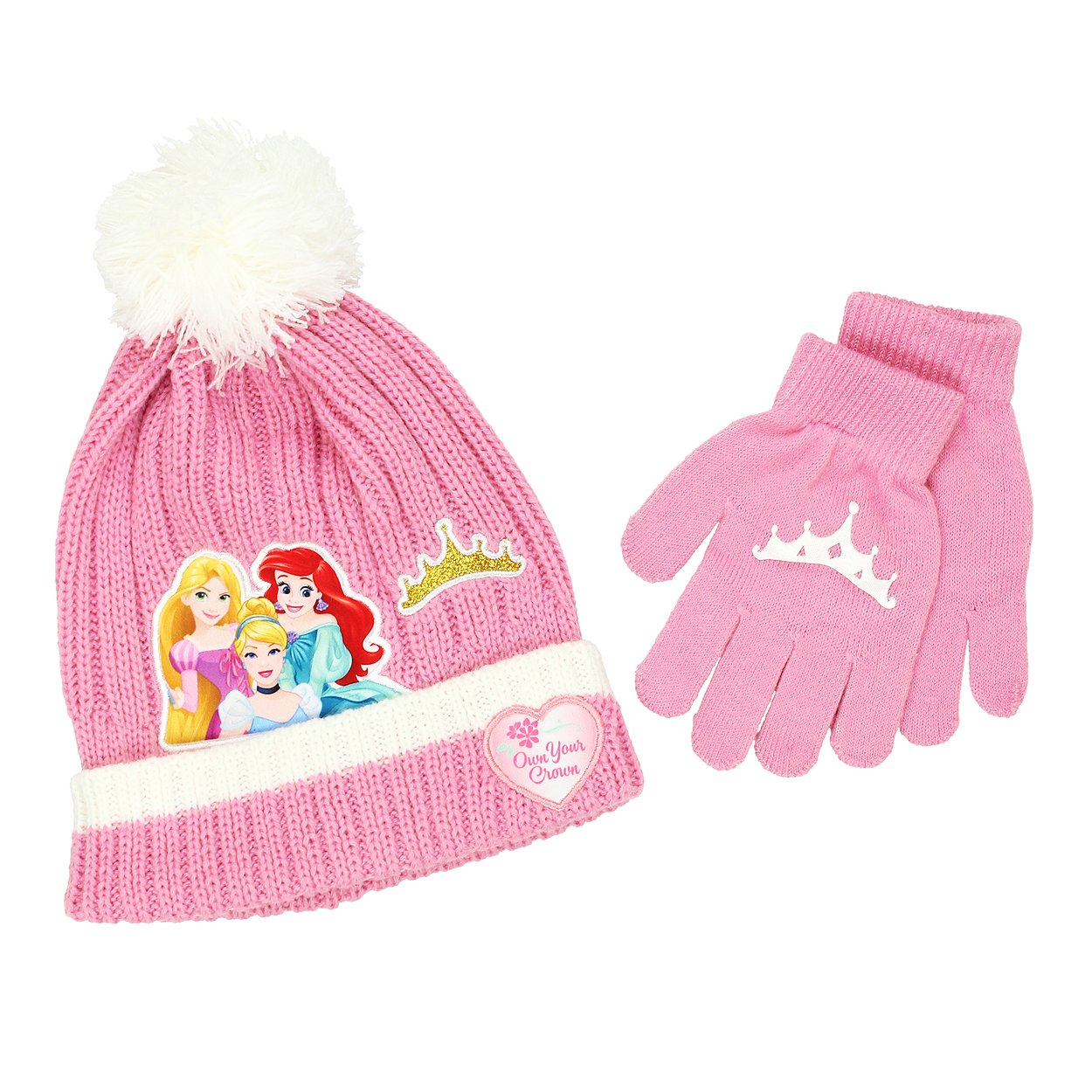 Disney Princess Girls Beanie Hat and Gloves Set (Little Kid/Big Kid) Pink)