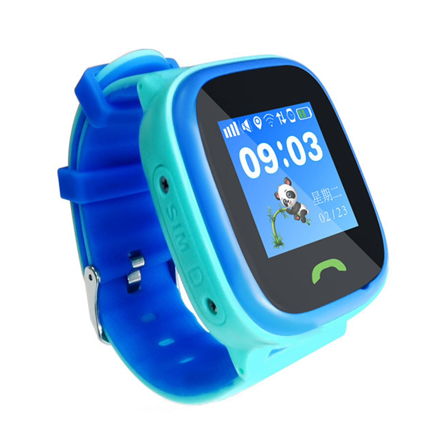 Kids Smartwatch with GPS, GIZEE Waterproof High Definition Voice Call Luminous Watchband SOS Positioning Smart Phone Watch for Children, Compatible with iPhone Android etc. (Blue)