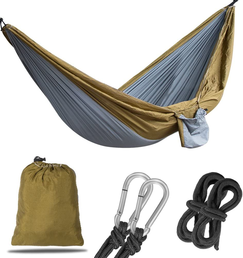 Korotus Collection Double Camping Hammock 106 x 55, Ultralight Portable Anti-Tear Parachute Nylon Hammock Tree Straps, Large 1-2 Person Outdoor Backpacking Travel, Beach, Yard Gray and Yellow