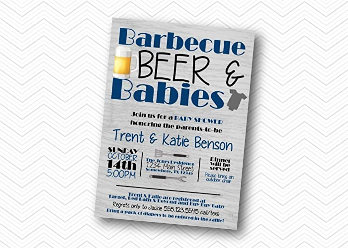 amazon com bbq beer babies baby shower invitation baby shower