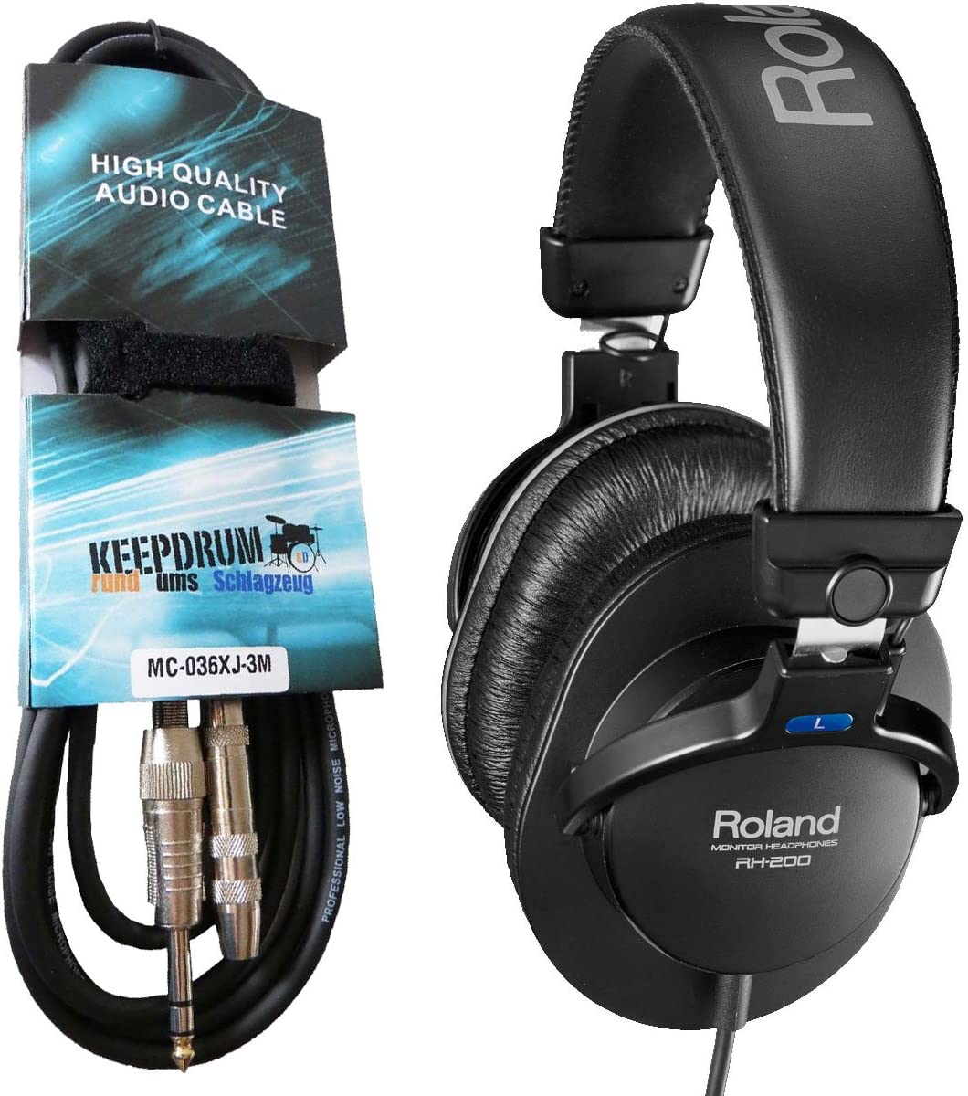 Roland RH-200 Monitor Kopfh/örer schwarz keepdrum Verl/ängerungskabel