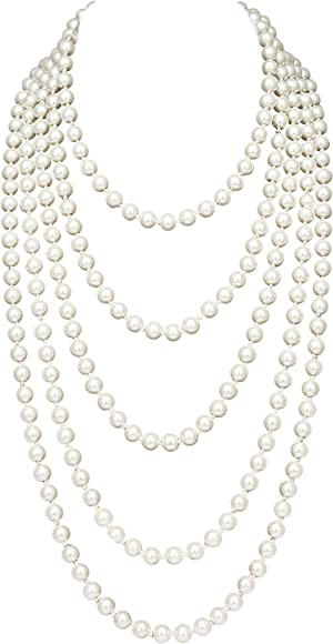 BABEYOND 1920s Gatsby Imitation Pearl Necklace Vintage Bridal Necklace with Crystal Brooch Roaring 20s Flapper Accessories US-crystalflowernecklace-6-green