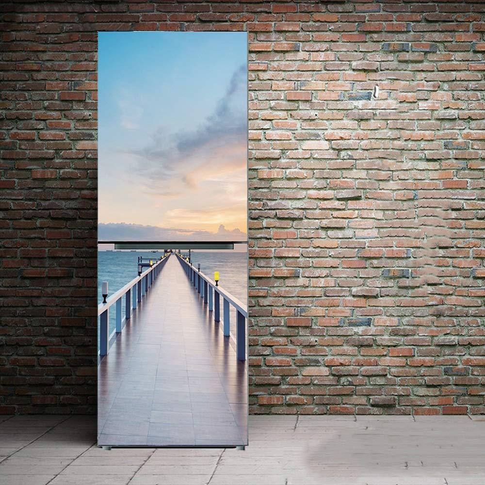 XIAOMAN Pegatinas de Nevera de la Cocina Mar Azul HD Cubierta de la Puerta del Refrigerador Envoltura Desmontable Autoadhesiva Arte DIY calcoman/ía Color : Multi-Colored, Size : 60 * 150cm