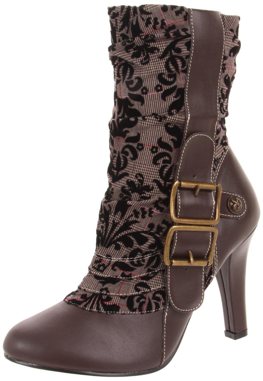 Demonia Women's TESLA 106 Steampunk Tweed Mid Caft Boots 3