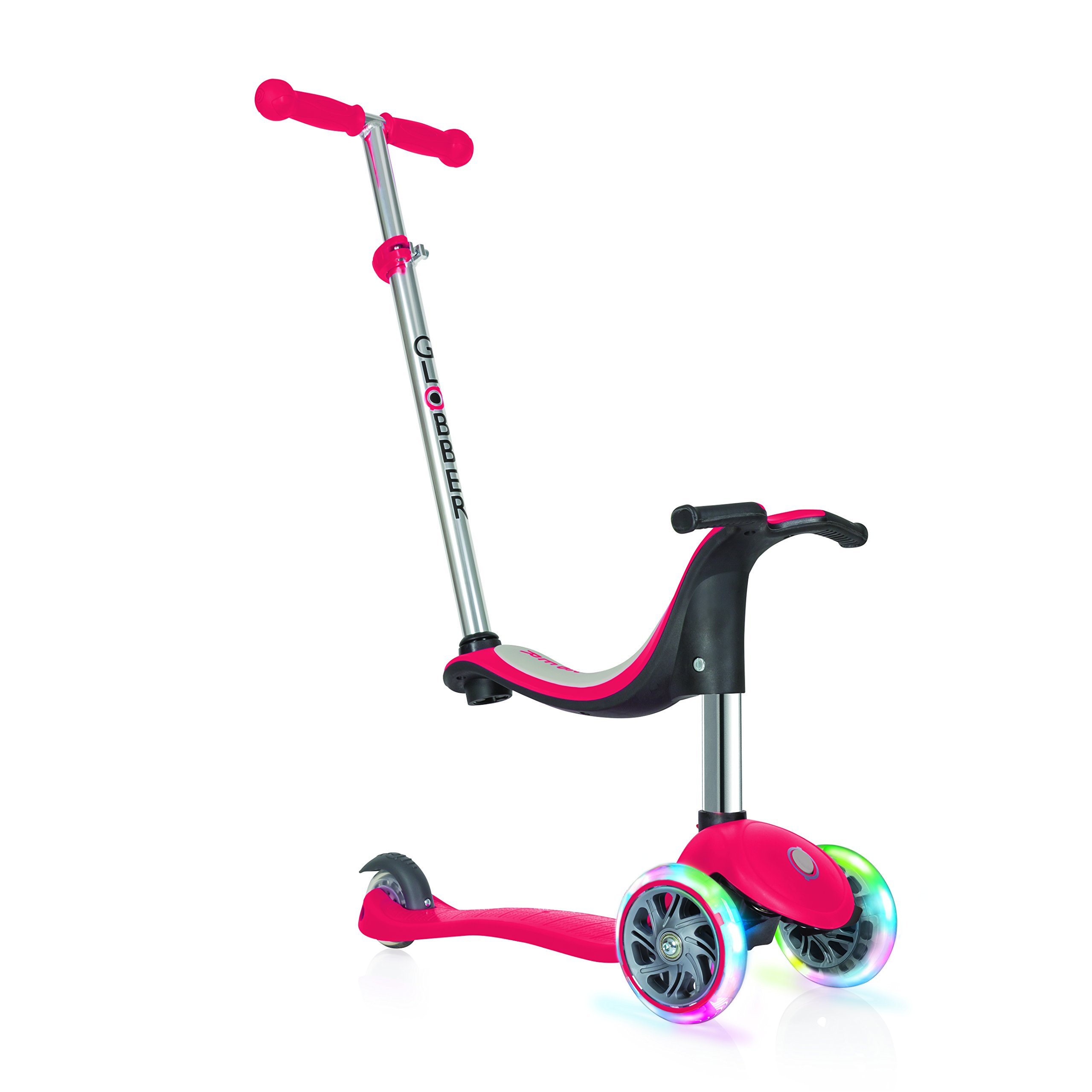 Globber Evo 3 Wheel 4-in-1 Convertible Scooter (Red LED)
