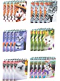 Spiral Notepad - 24-Pack Top Spiral Notebooks, Bulk Mini Spiral Notepads for Note Taking, To-do Lists, Kids Party Favors, Lined Paper, 6 Cats 3D Cover Designs, 2.75 x 4.25 Inches