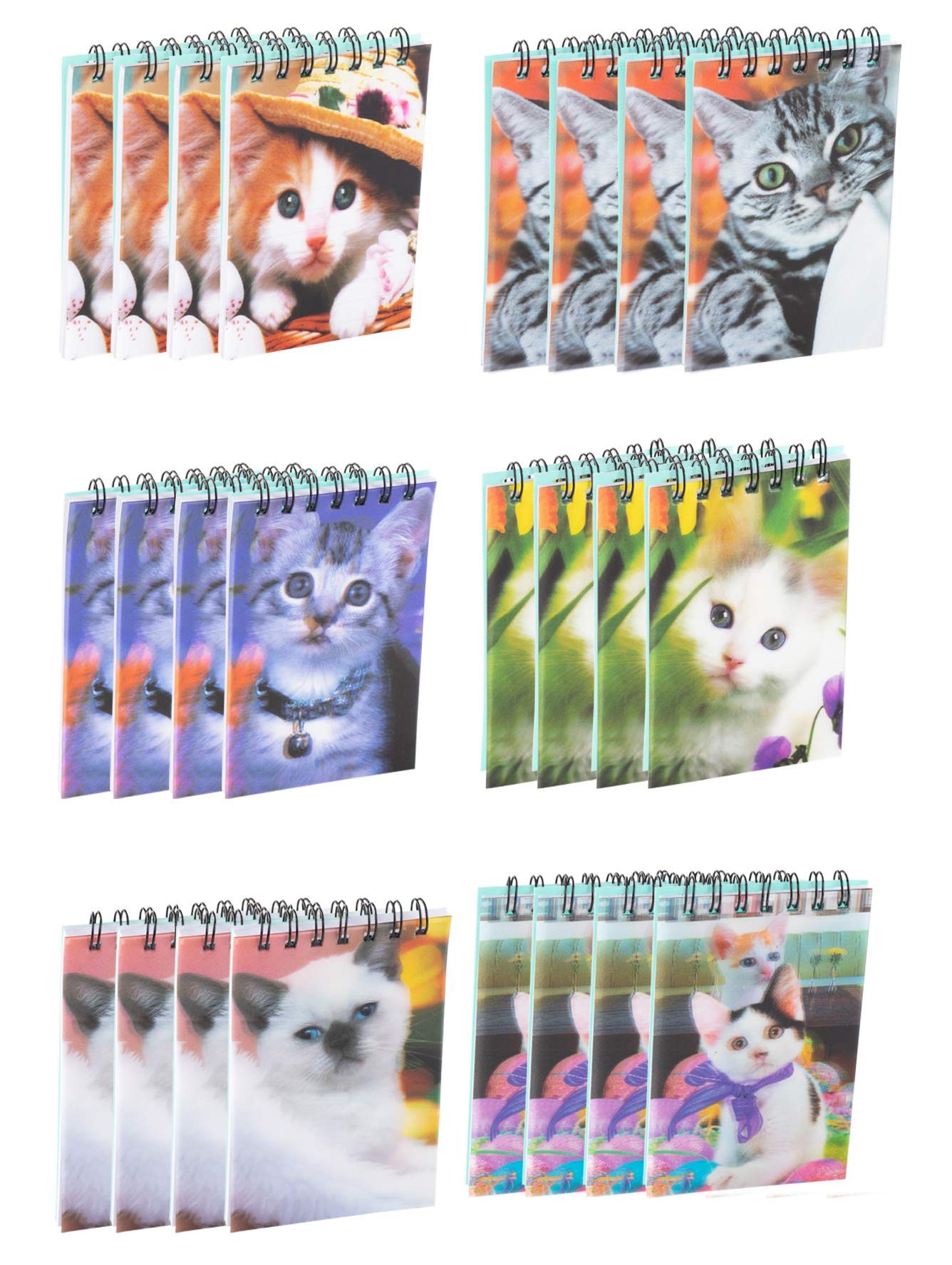 Spiral Notepads - 24-Pack Mini Top Spiral Notebooks for Note Taking, To-do Lists, Kids Party Favors, Lined Paper, 6 Cats 3D Cover Designs, 55 Pages Each, 2.75 x 4.25 Inches by Juvale