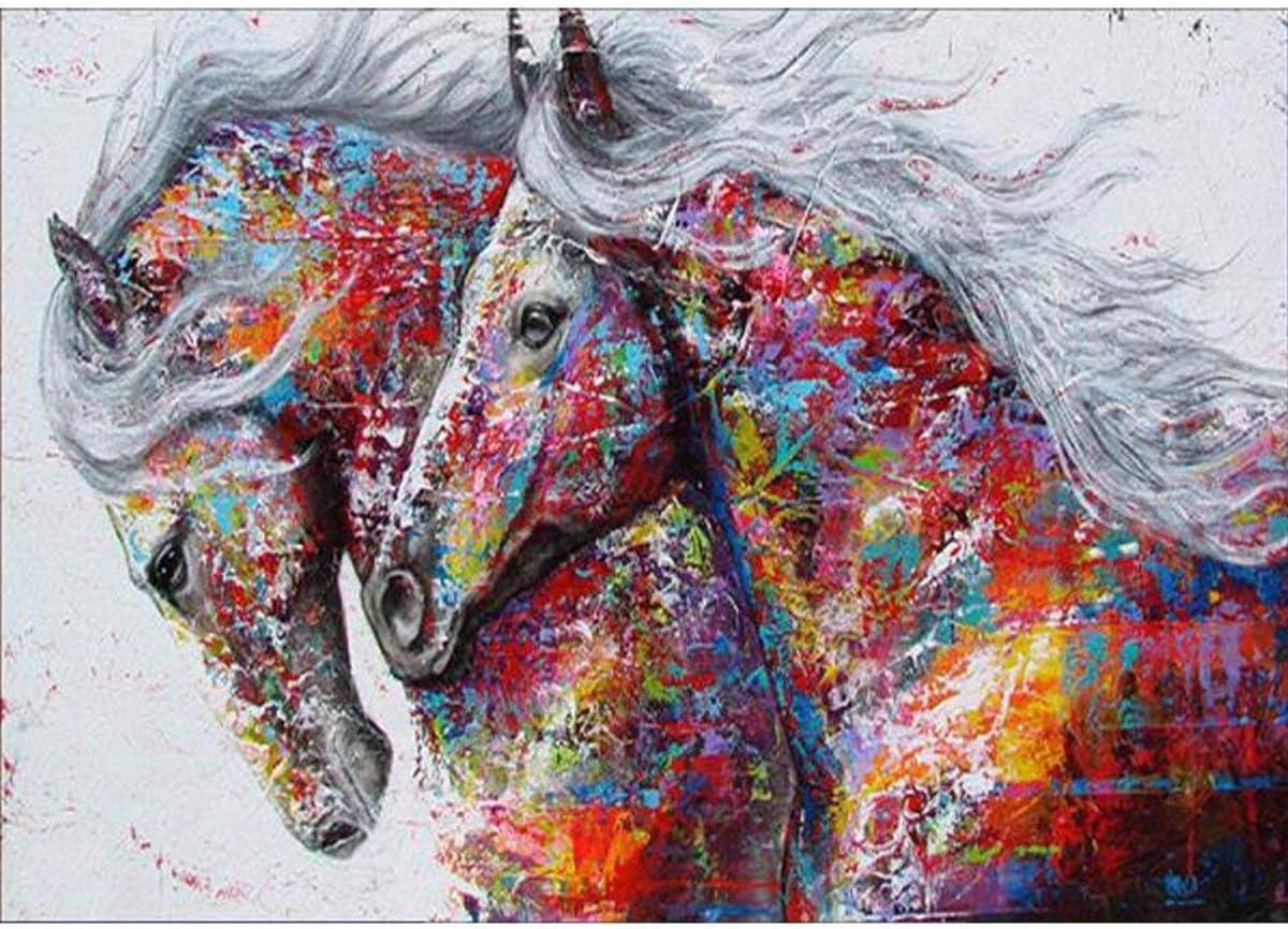 Kits de pintura de diamante bricolaje para adultos, 5D diamond painting dos caballos ronda taladro Rhinestone bordado punto de cruz suministro artes artesanía lienzo decoración de la pared 30x40 cm
