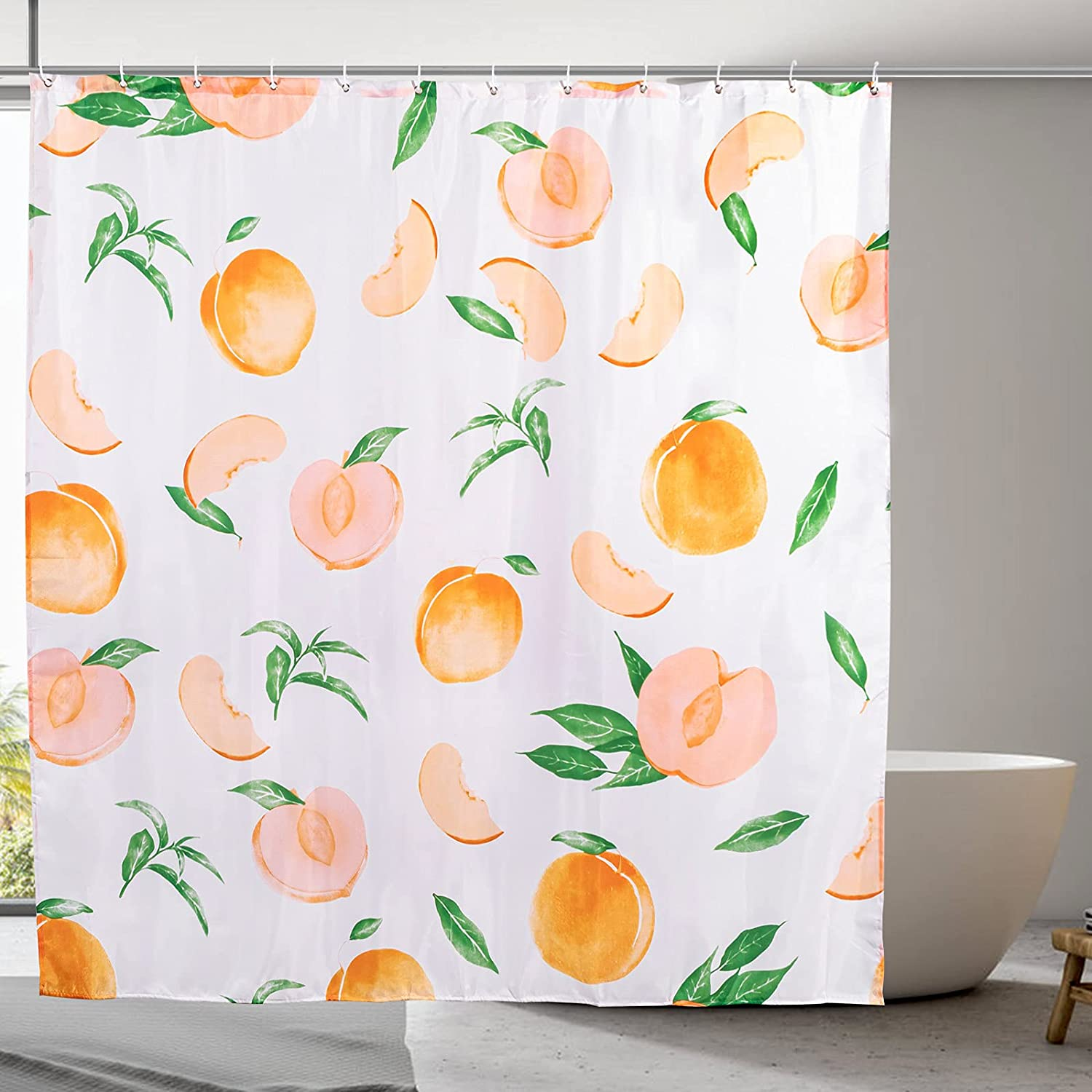 MoFCravy Peach Shower Curtain for Bathroom, Cute Fruit Shower Curtain Set with 12 Hooks, Colorful Shower Curtain Bathroom Decor of Waterproof Fabric Material, 72''×72'', Bright Orange