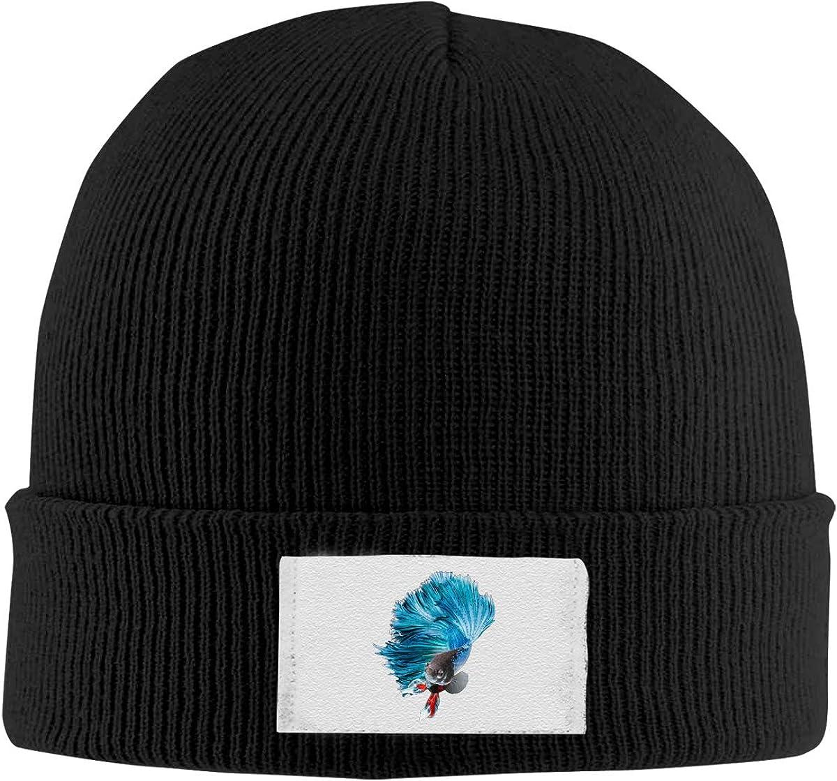 Dunpaiaa Skull Caps Goldfish with Cap Winter Warm Knit Hats Stretchy Cuff Beanie Hat Black