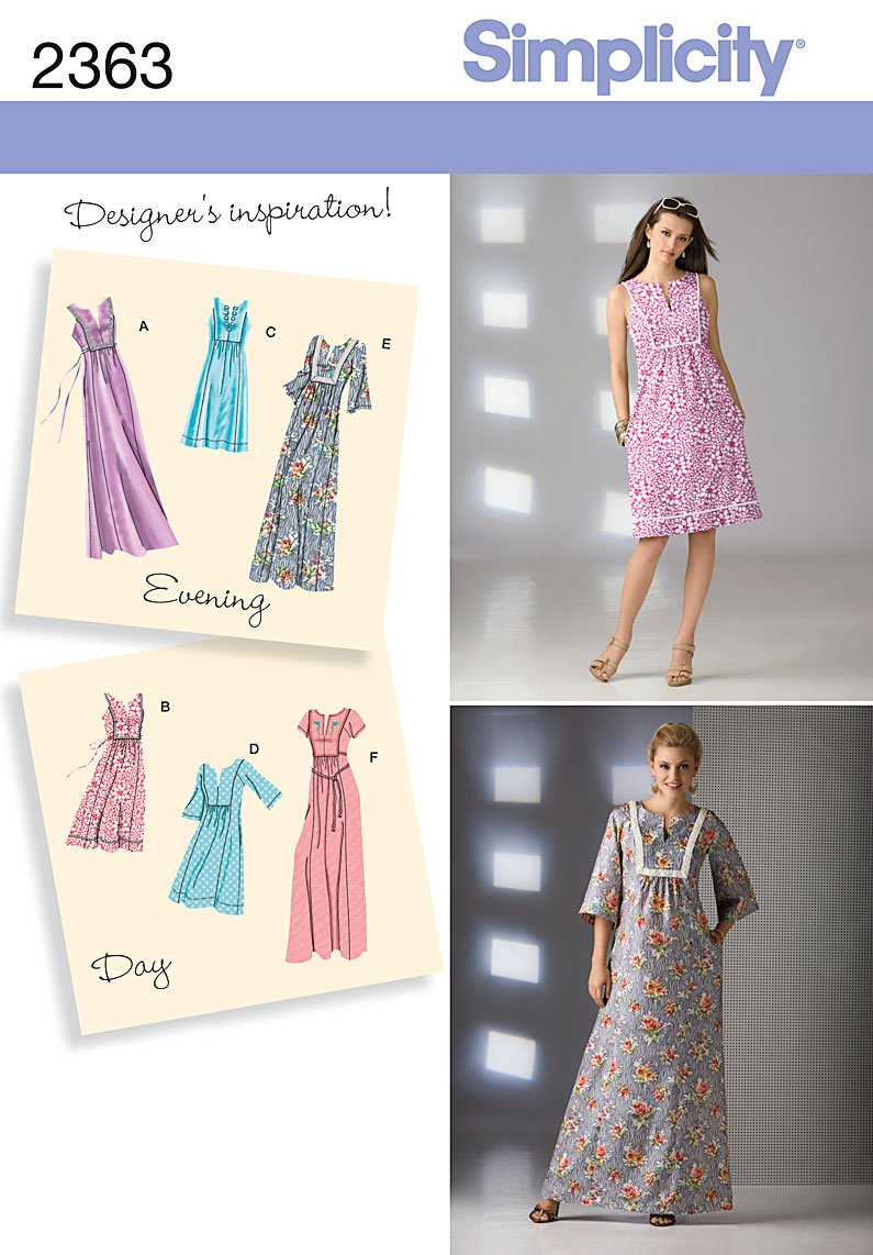 Amazon.com: Simplicity Sewing Pattern 2363 Misses Day to Evening Dresses, R5 (14-16-18-20-22): Arts, Crafts & Sewing