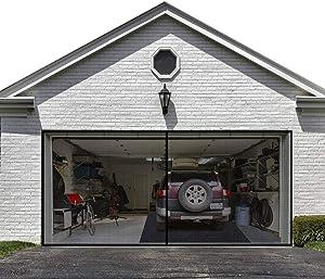 Garage Door Screen for 2 Car 16x7FT Garage Doors ,Heavy Duty Upgrade Glass Fiber Door Screen Curtain for Garage Door,Hands Free Magnetic Screen Door (6 Strapping Tapes Include)
