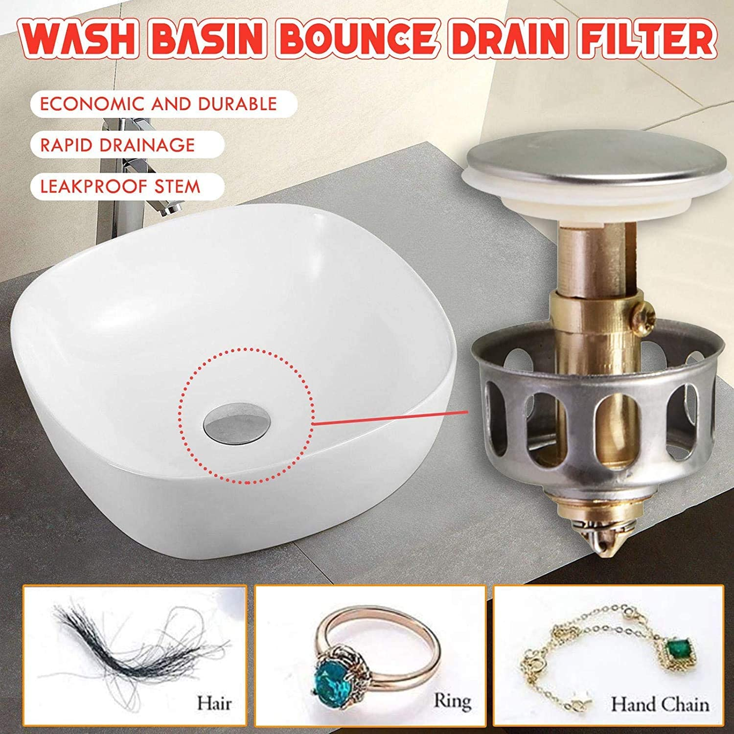 Universal Wash Basin Bounce Drain Filter With Anti-clogging Basket Sink Drainer
