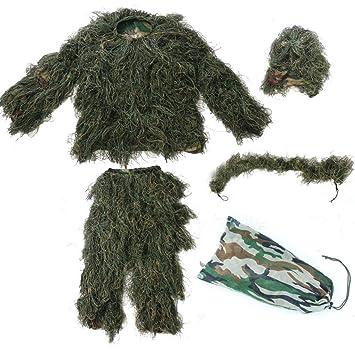 JHKJ Adultos al Aire Libre Ropa de Camuflaje del Bosque Ropa y Pantalones Militares del ejército