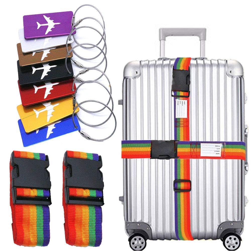 QICI 2 Pack Gep/äckgurte Koffer Gurt personalisierte Gep/äck Tasche Gurt Gep/äck Etiketten personalisierte Kofferanh/änger 7 Farben