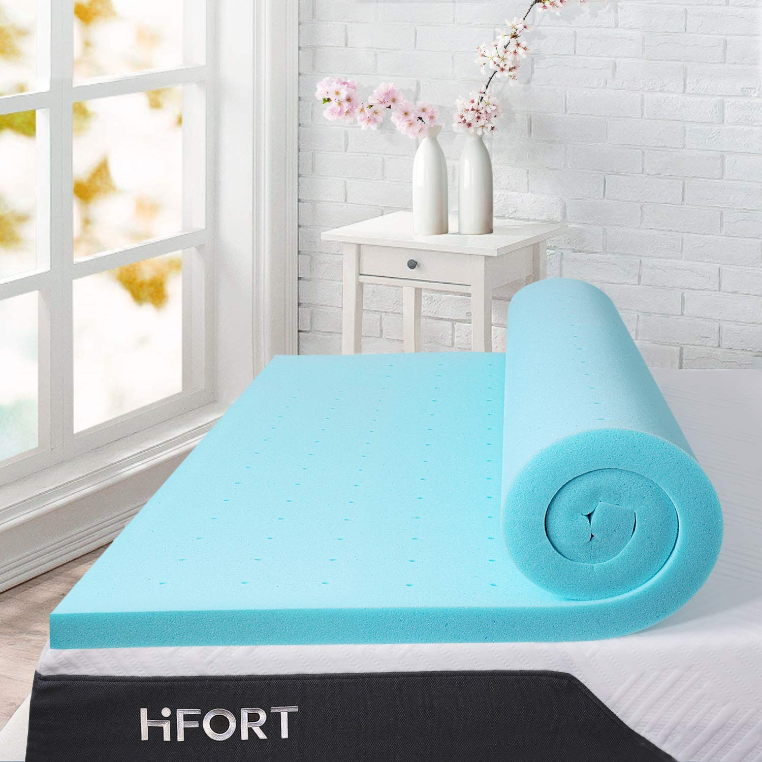 HIFORT Memory Foam Topper Twin 2 Inch, Ventilated Gel Mattress Pad Single Bed Topper