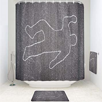 Amazon IPrint Polyester Fabric Bathroom Shower Curtain Set With