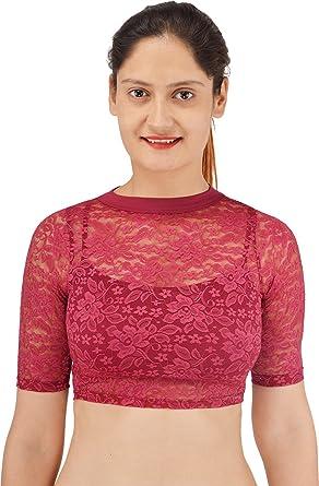 fb74122b54ec0 SHYIE Women's Viscose, Cotton & Lycra Stitched Saree Blouse (S484-07, Garnet