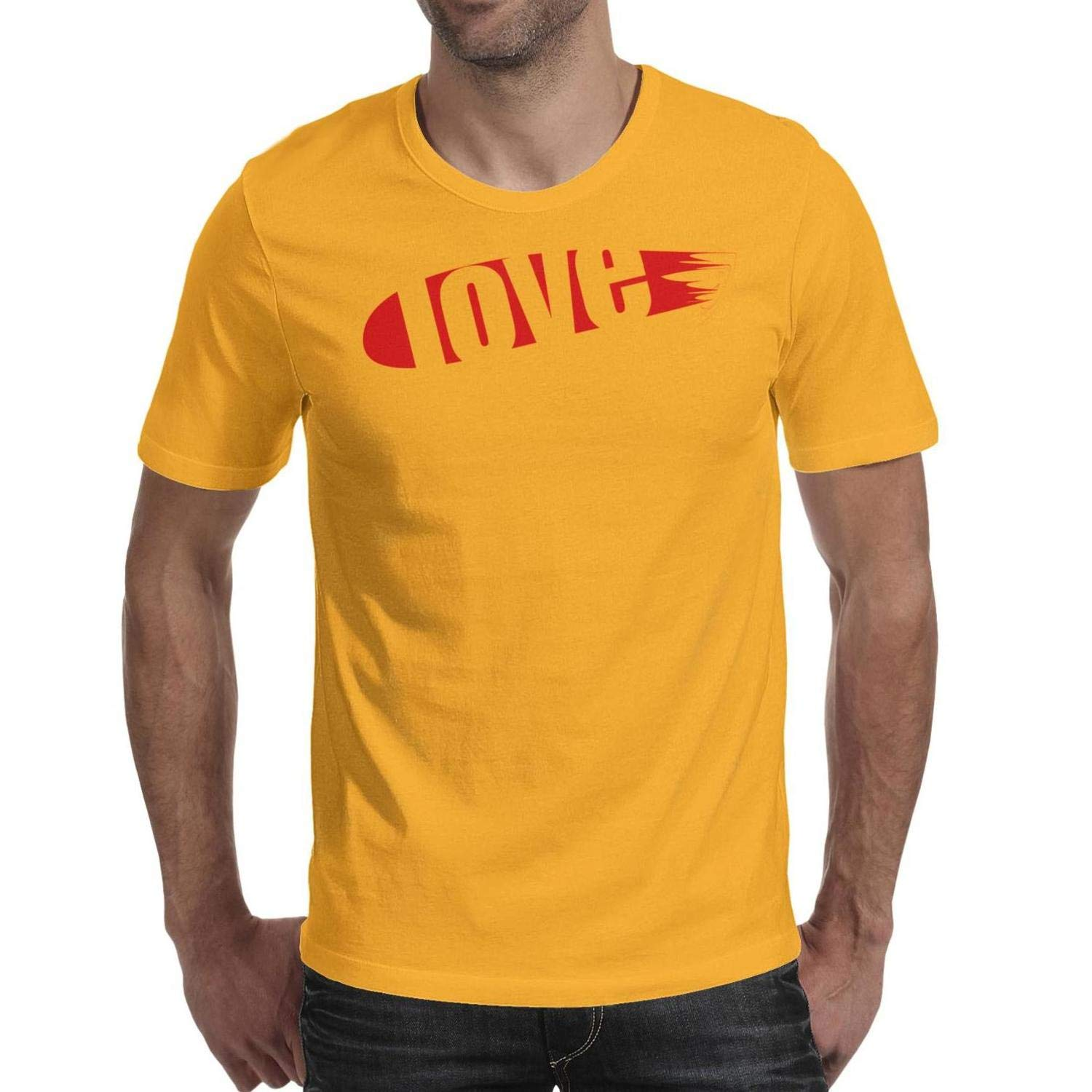 Blend Love Love Mens Tops Shirt Tee Cotton,Cable,Slim-Fit,Crew Neck,Solid,Graphic,Novelty} Round Neck