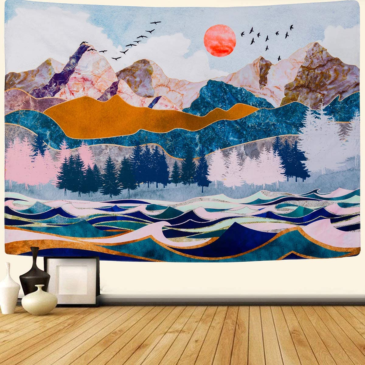 SENYYI Mountain and Sunset Tapestry Wall Hanging Forest Trees Tapestry Wave Art Tapestry Nature Landscape Home Decor for Room 70.9 x 92.5 inches