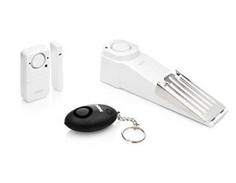 SABRE Dorm Apartment Security Alarm Kit - Includes Wedge Door Stop Alarm, Personal Keychain Alarm and Wireless Window Alarm with LOUD 120 dB Siren