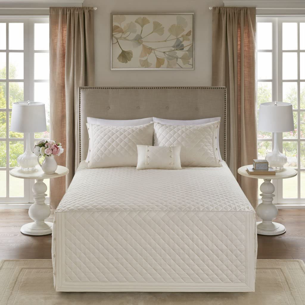 Madison Park Breanna 4 Piece Cotton Reversible Trailored Quilt Set Coverlet Bedding, Full/Queen, Ivory