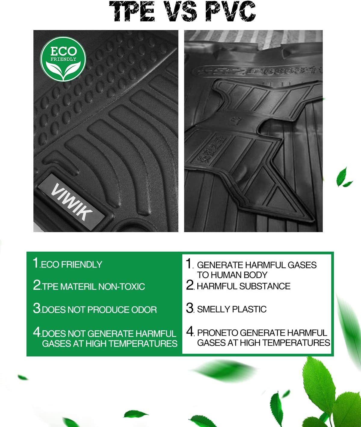 100/% Safe VIWIK Floor Mats for 2020 Jeep Gladiator Durable and Eco-Friendly TPE Front and Rear Floor Liner Set for Jeep Gladiator Tough