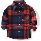 OCHENTA Boys' Long Sleeve Button Down Plaid Shirt
