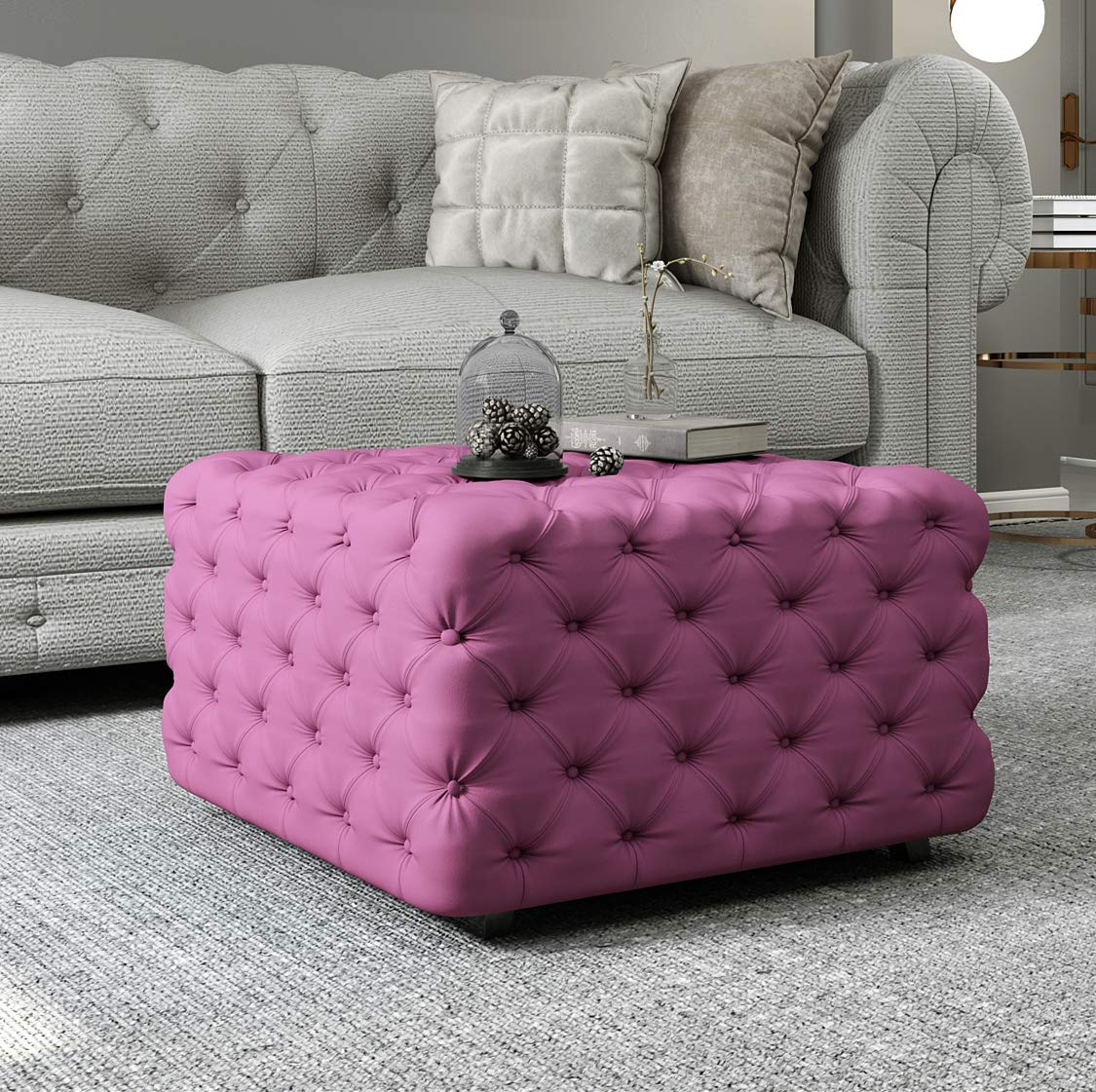 Joveco Ottoman Bench Tufted Velvet Stool for Living Room Purple Square Ottoman