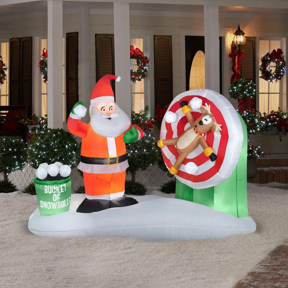 amazoncom gemmy animated airblown inflatable santa snowball throwing with reindeer on a spinning target indoor outdoor holiday decoration 75 foot wide - Outdoor Christmas Inflatables
