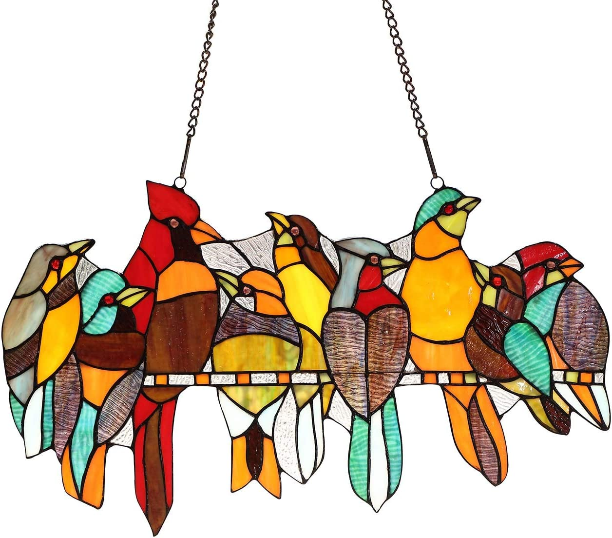 Bieye W10055 Tropical Birds on The Wire Tiffany Style Stained Glass Window Panel Hangings with Chain, 22 W x 13 H